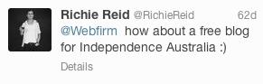 Independence Australia Tweet