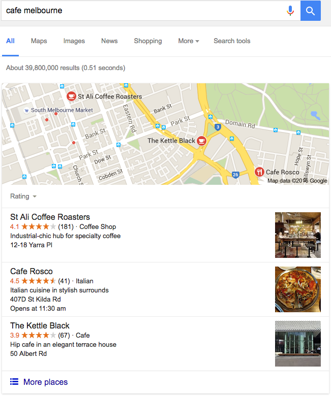 Google My Business search result example