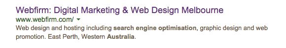 Webfirm.com showing old description