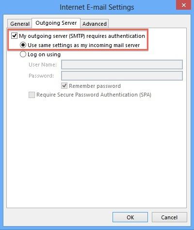 Outgoing Server Tab