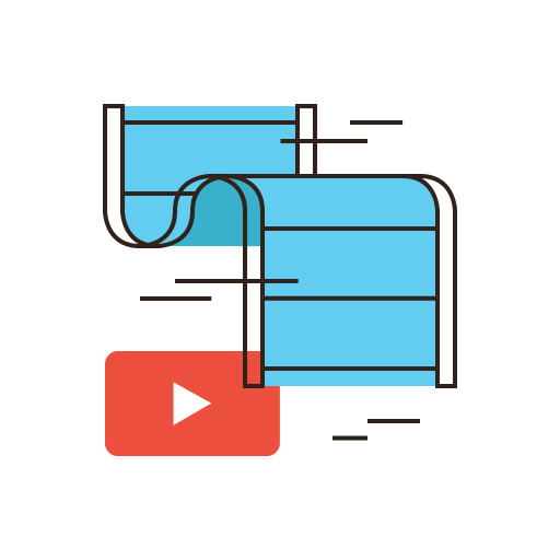 video reel with YouTube play symbol