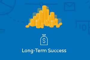 "Blue image with a pile of money and the caption ""long term success"""