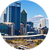 Perth Skyline in a Circle