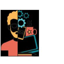 Icon consisting of half man, half digital strategy