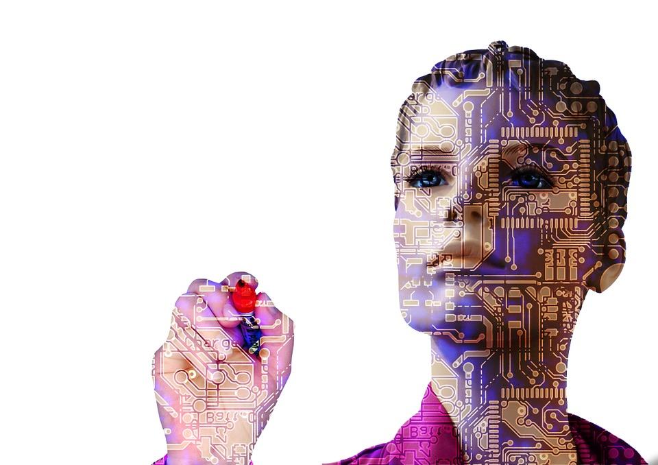 transparent AI woman with pen