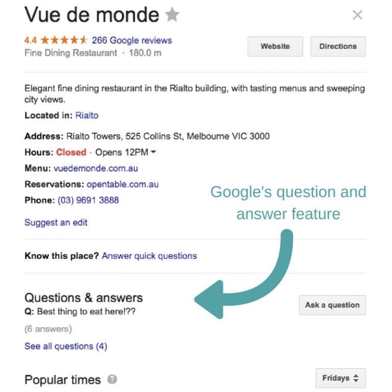 Vue De Monde Google My Business profile