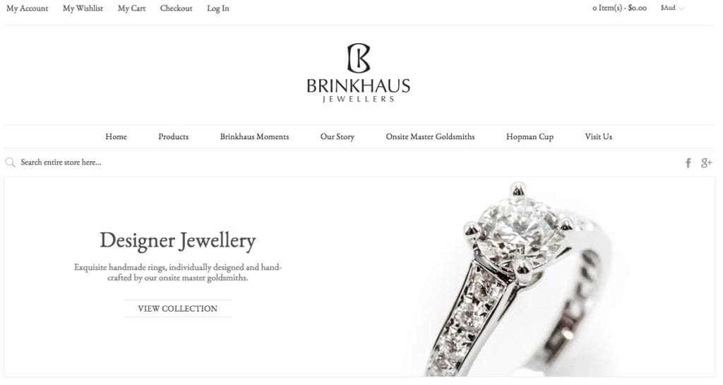 Brinkhaus Jewellers website