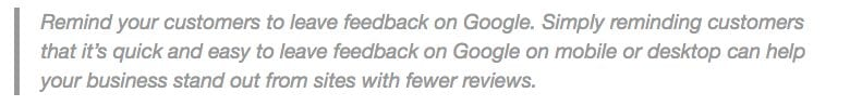 Google advice on reviews