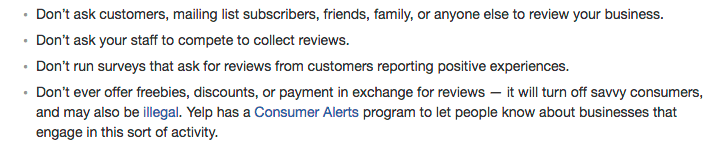 Yelp review guidelines