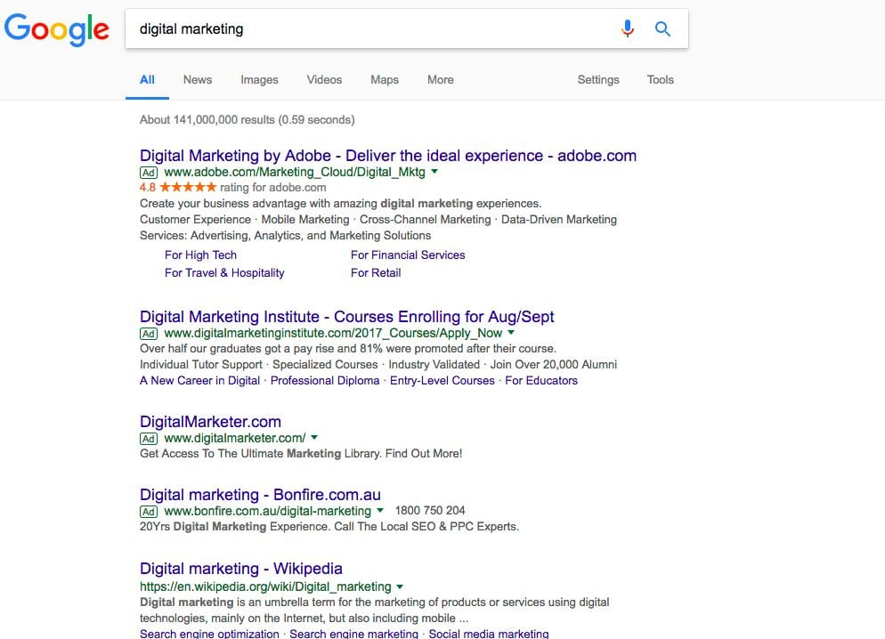 non question based search results