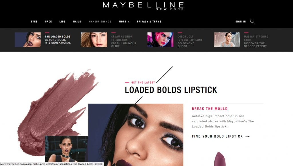Maybelline website