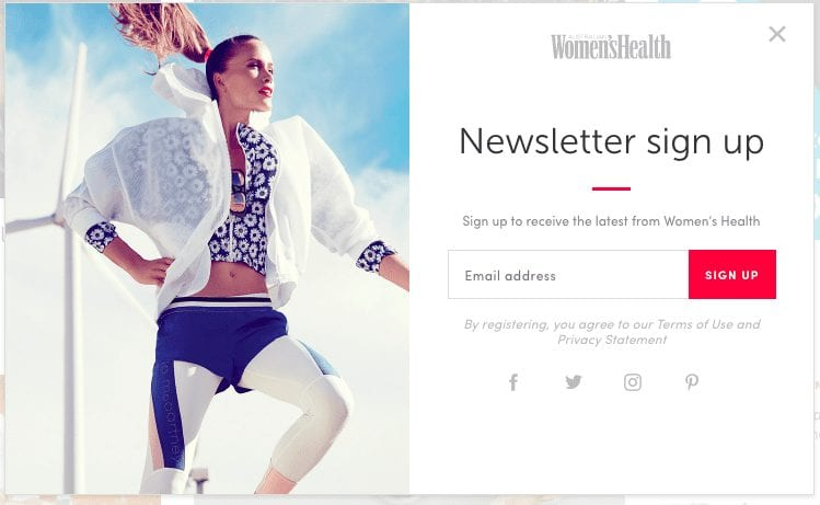 Women's Health newsletter signup