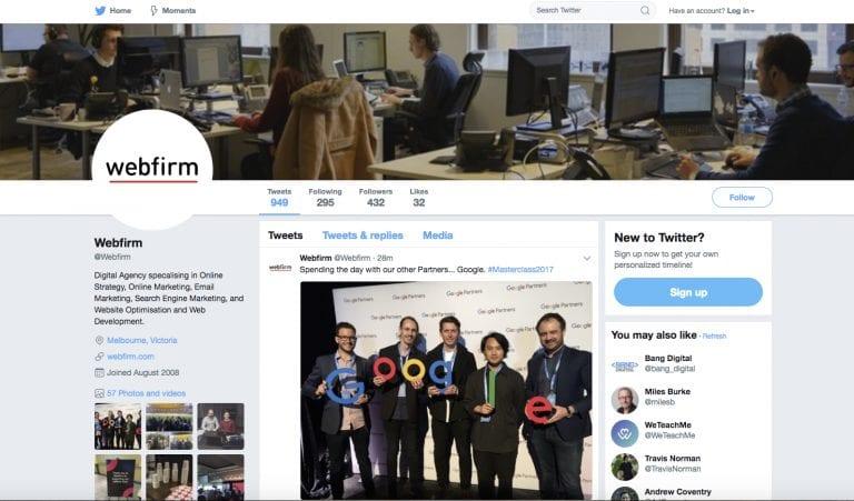 Webfirm Twitter account