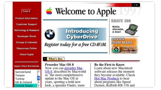Apple website circa 1996