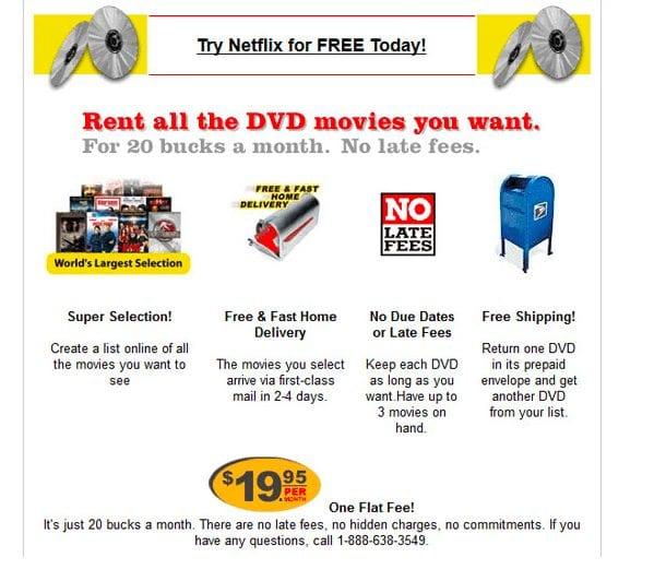 Netflix website circa 1997