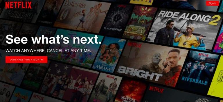Netflix website circa 2018