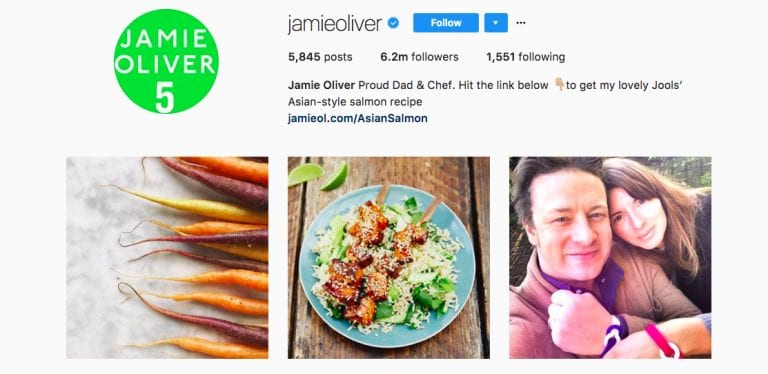 Jamie Oliver's Instagram page