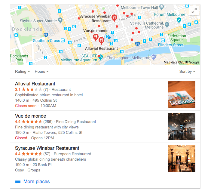 Google Maps search results