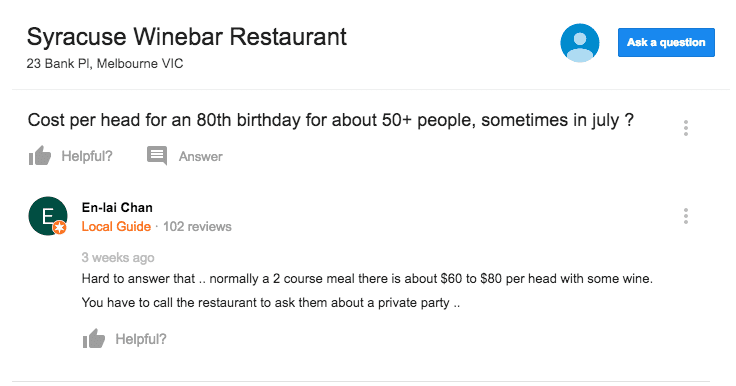 Syracuse Winebar question and answer on Google My Business