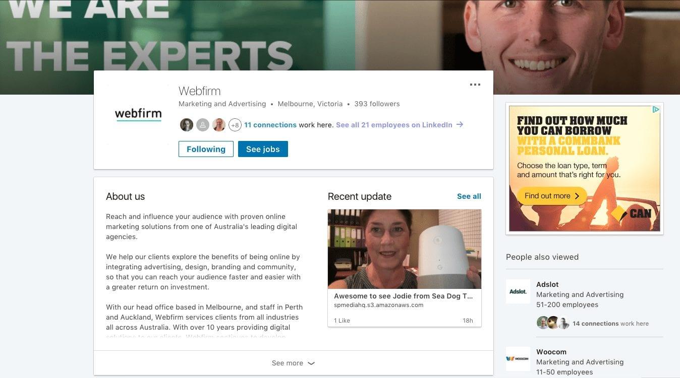 Webfirm's LinkedIn profile