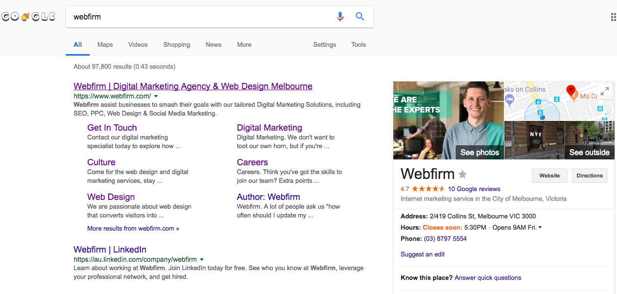 Google My Business search result for Webfirm
