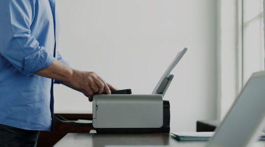 man using printer