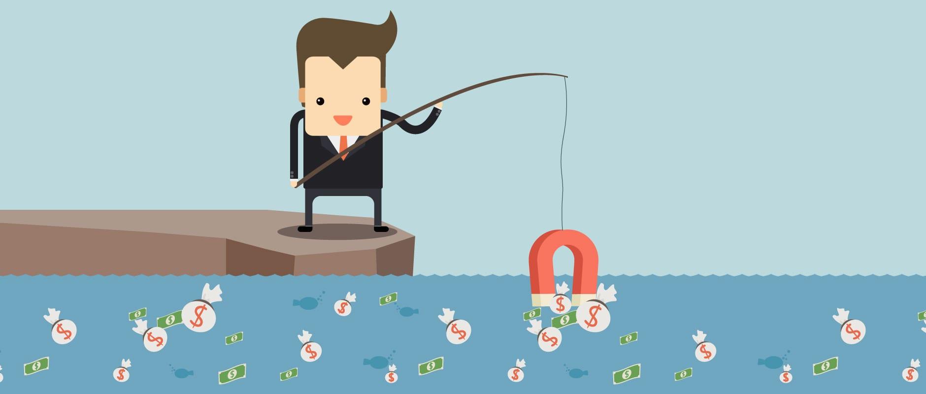 businessman fishing for money