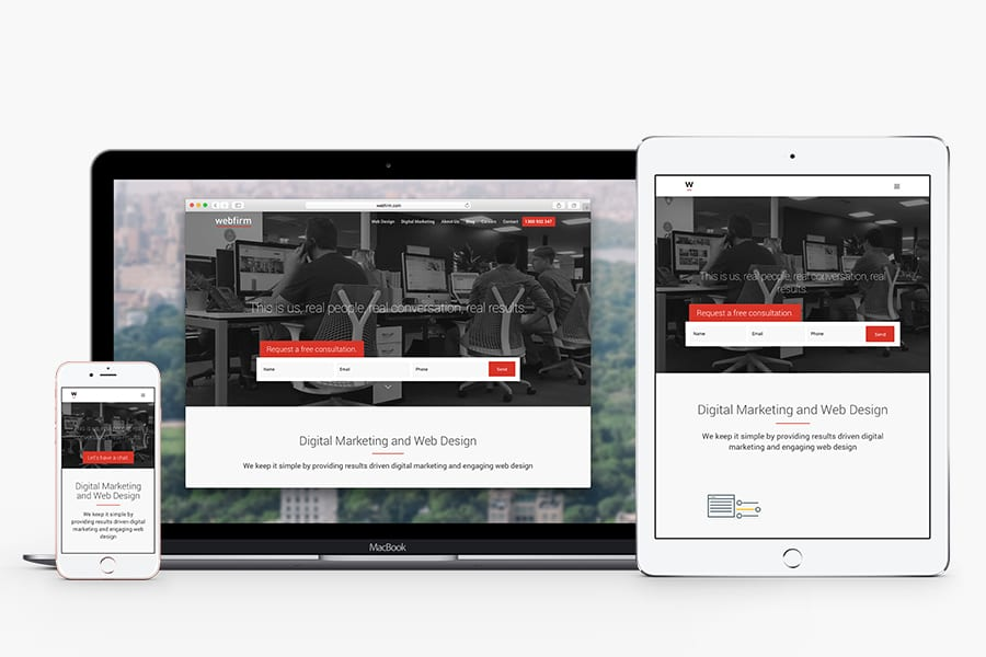 Webfirm website on laptop, tablet and mobile