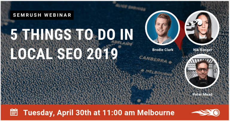 5 things to do in local seo 2019 semrush webinar poster