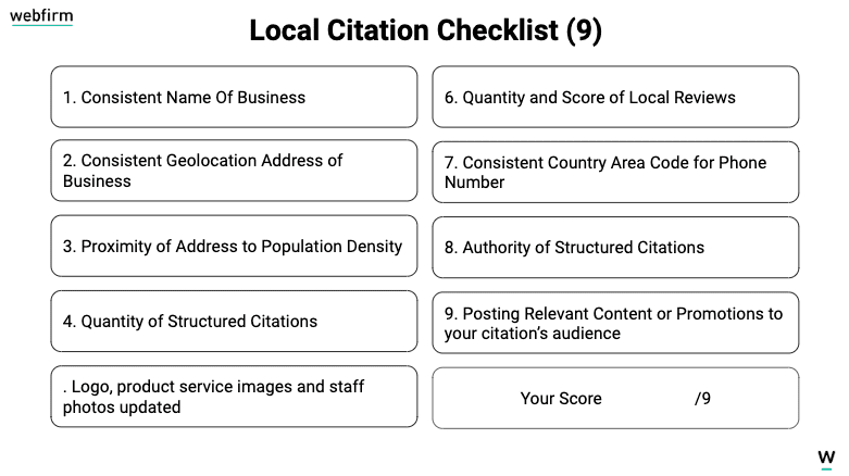 Local citation checklist