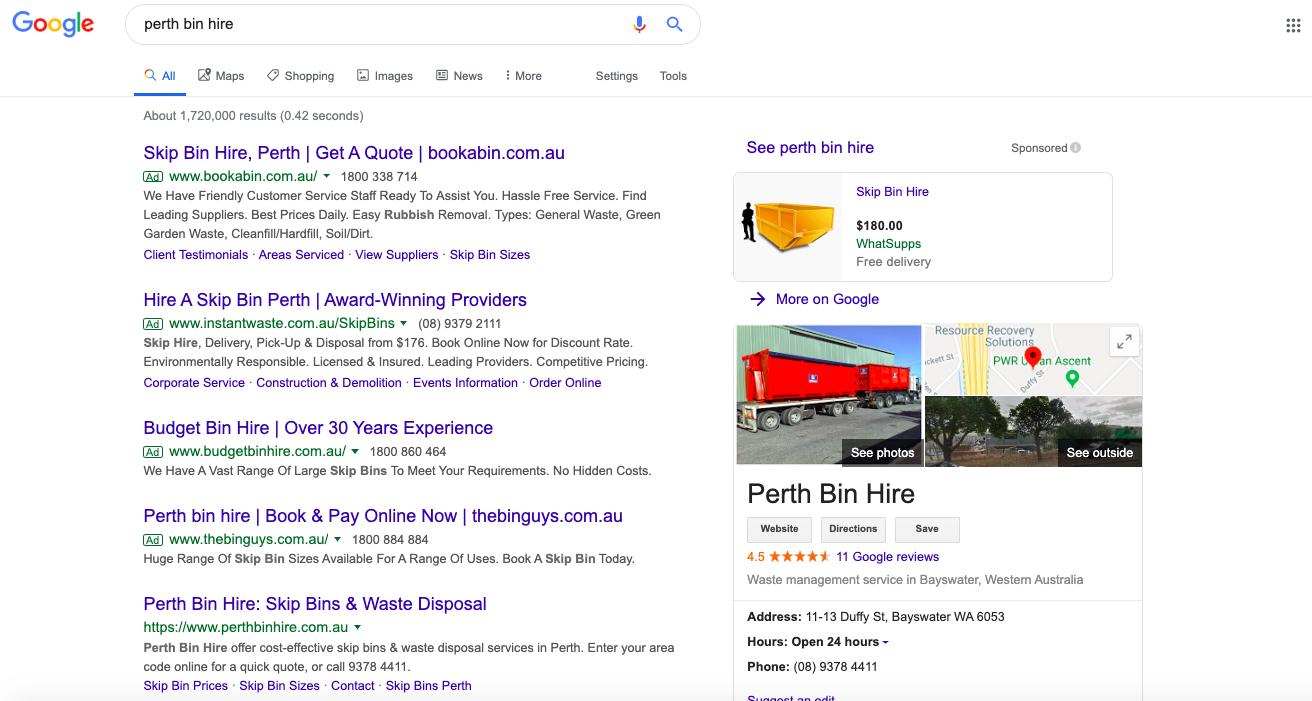perth bin hire google